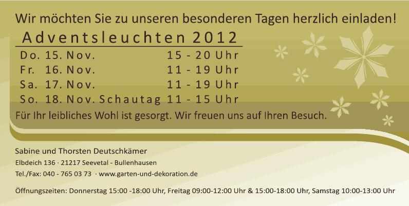 Einladung Adventsleuchten 2012 - Garten und Dekoration Seevetal